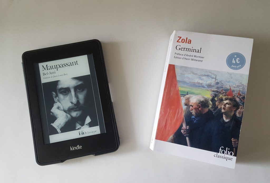 Book covers of Bel-Ami (on Kindle) and Germinal (on paper)